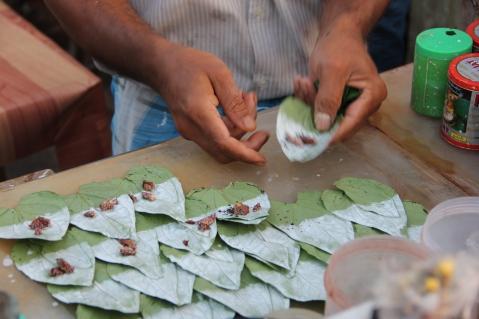 Betel nut wrap being prepared