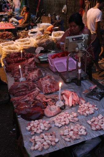 Market with candle light