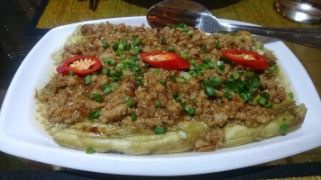 Eggplant with minced pork (Cha traop dot)