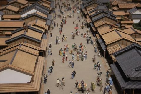 Miniature representation of a street in Edo times