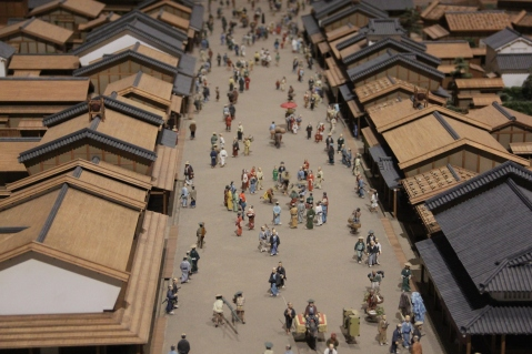 Miniature representation of a street in Edo times