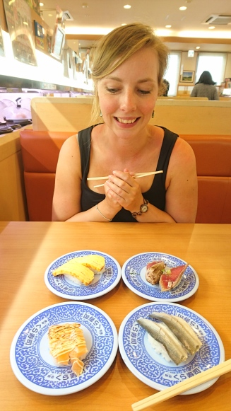 Rolling-sushi makes Becky happy!