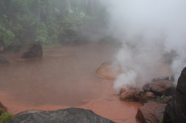Some pools have a red/ocre color due to the minerals in the water