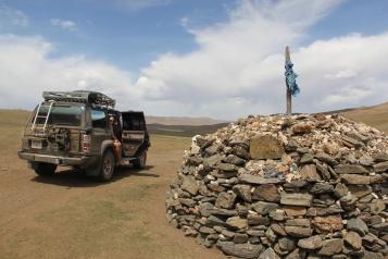 An ovoo stone heap to worship heaven